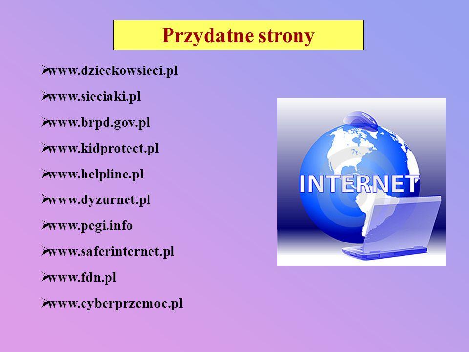 Przydatne strony www.dzieckowsieci.pl www.sieciaki.pl www.brpd.gov.pl
