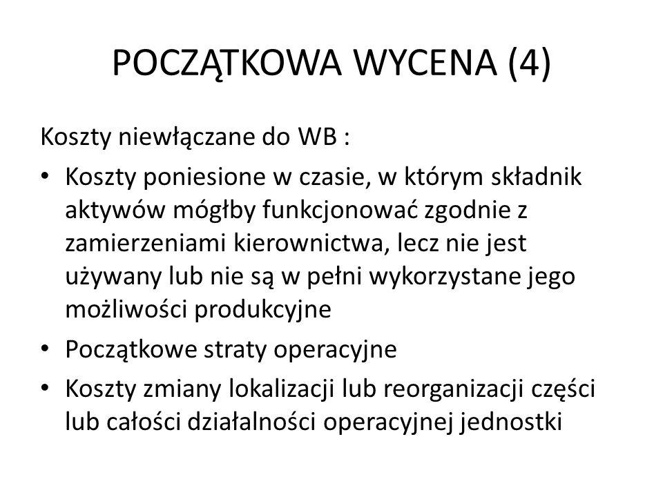 POCZĄTKOWA WYCENA (4) Koszty niewłączane do WB :