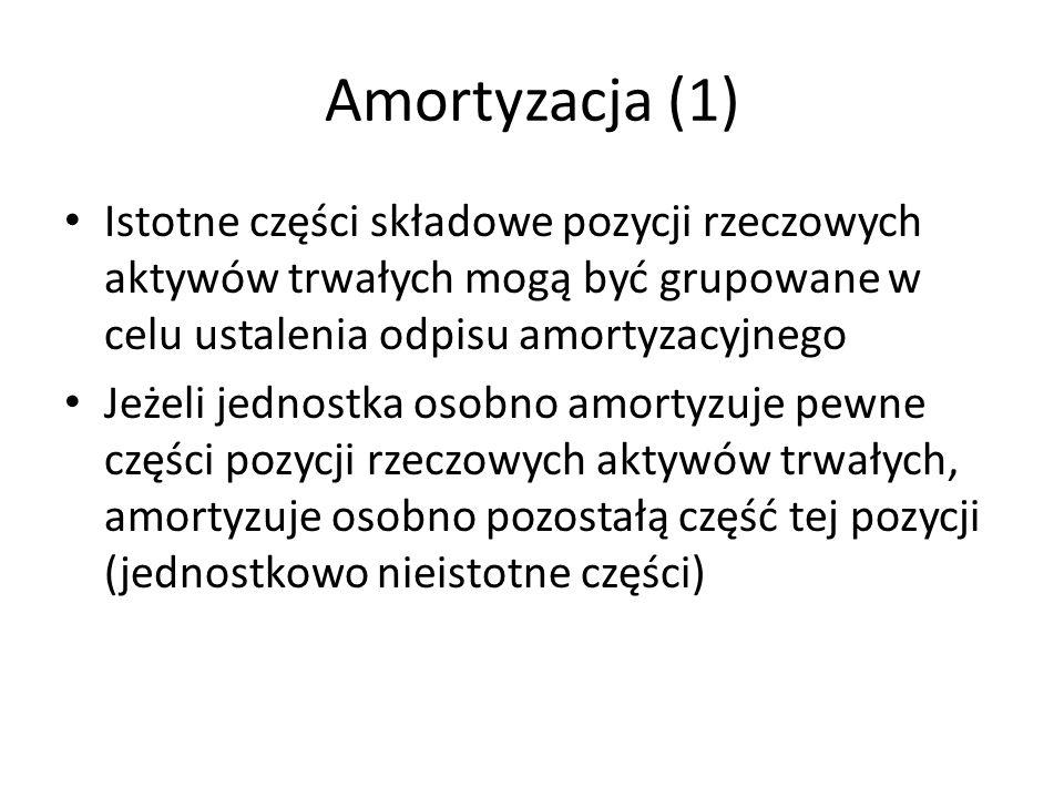 Amortyzacja (1) Istotne części składowe pozycji rzeczowych aktywów trwałych mogą być grupowane w celu ustalenia odpisu amortyzacyjnego.