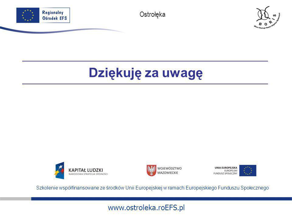 Dziękuję za uwagę Szkolenie współfinansowane ze środków Unii Europejskiej w ramach Europejskiego Funduszu Społecznego.