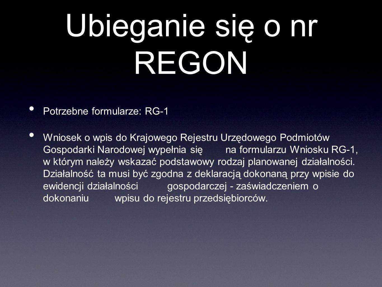 Ubieganie się o nr REGON