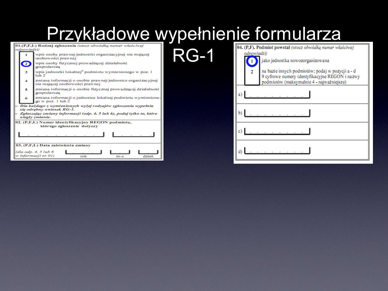 Przykładowe wypełnienie formularza RG-1