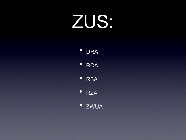 ZUS: DRA RCA RSA RZA ZWUA