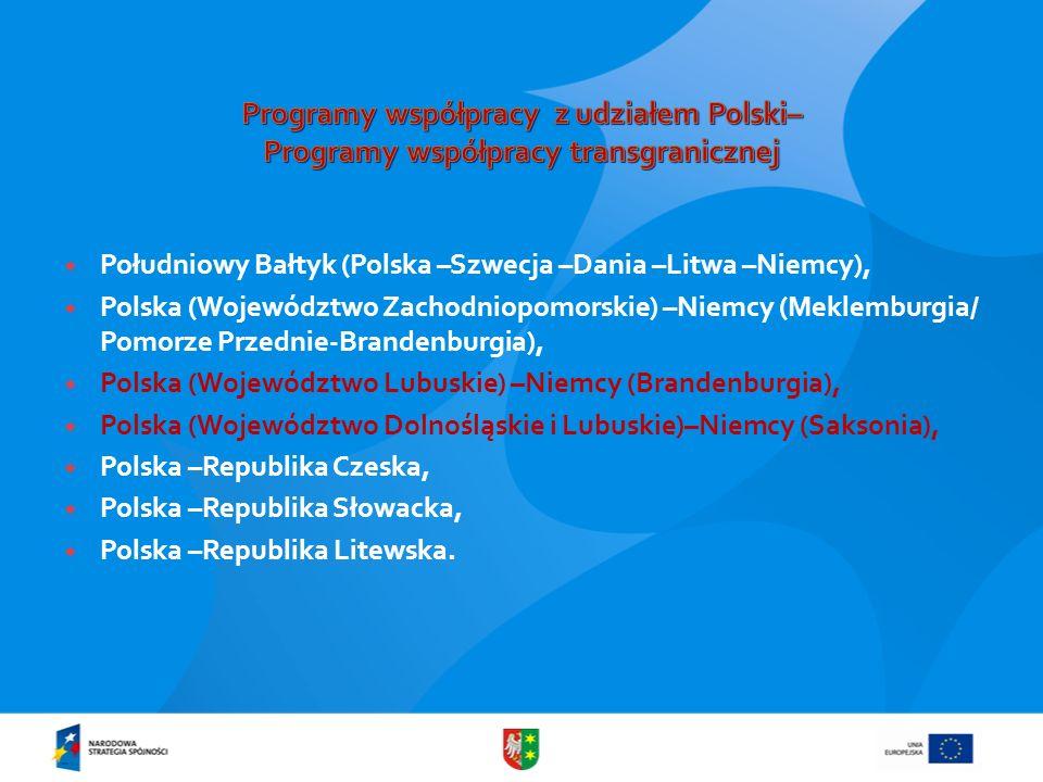 Programy współpracy z udziałem Polski– Programy współpracy transgranicznej