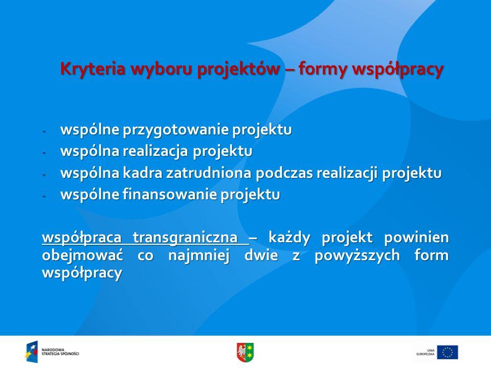 Kryteria wyboru projektów – formy współpracy