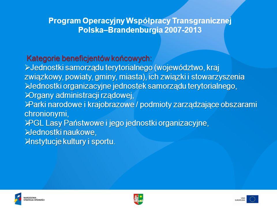 Kategorie beneficjentów końcowych: