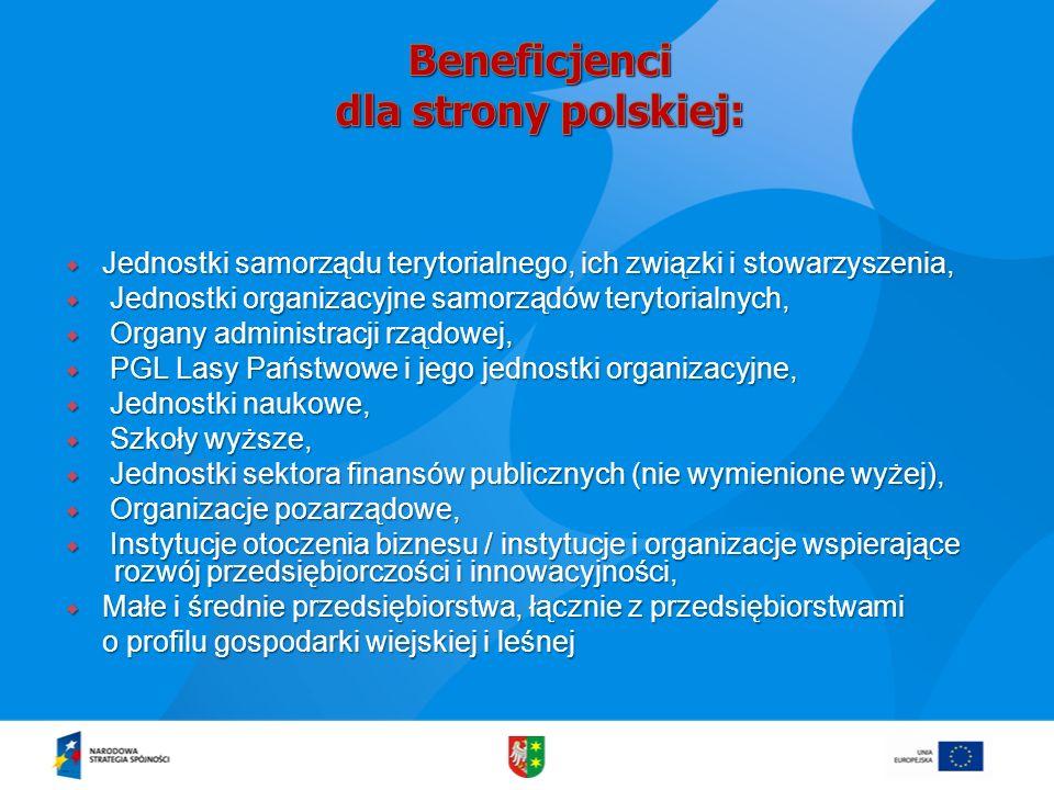Beneficjenci dla strony polskiej:
