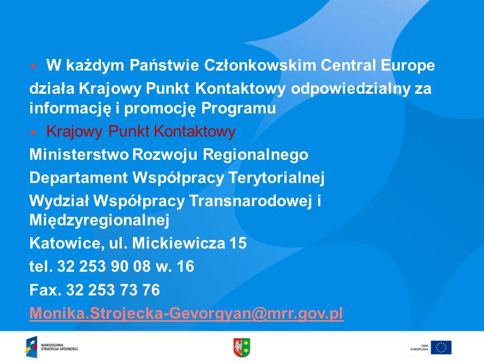 W każdym Państwie Członkowskim Central Europe
