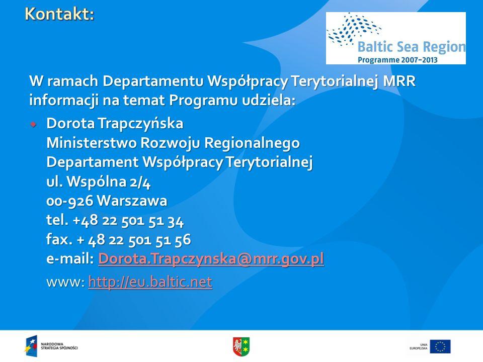 Kontakt: W ramach Departamentu Współpracy Terytorialnej MRR informacji na temat Programu udziela: