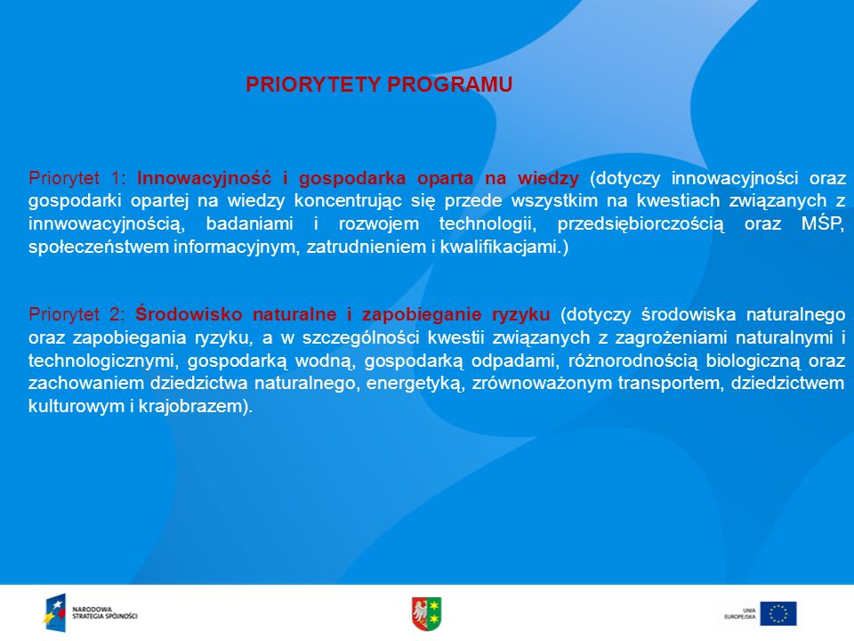 PRIORYTETY PROGRAMU