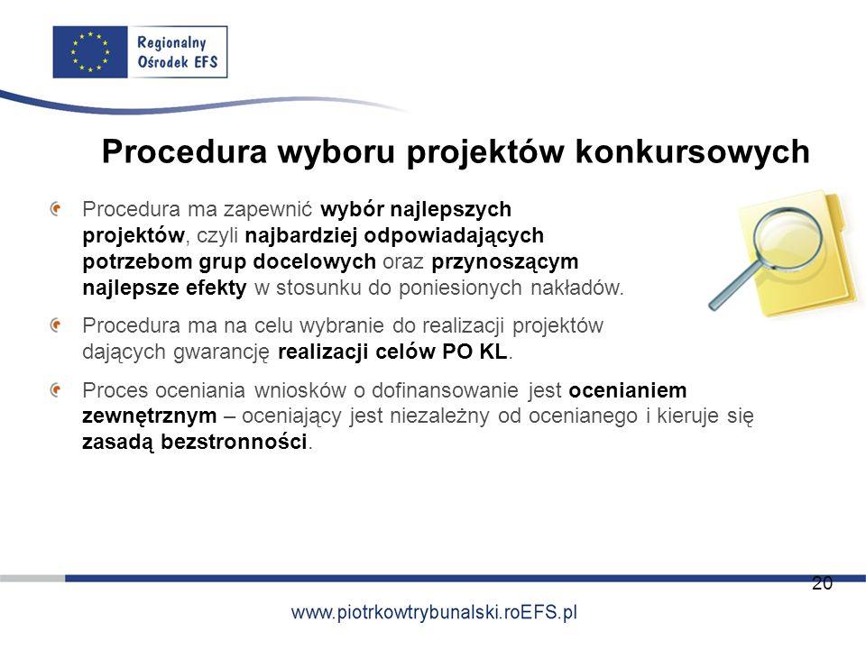 Procedura wyboru projektów konkursowych