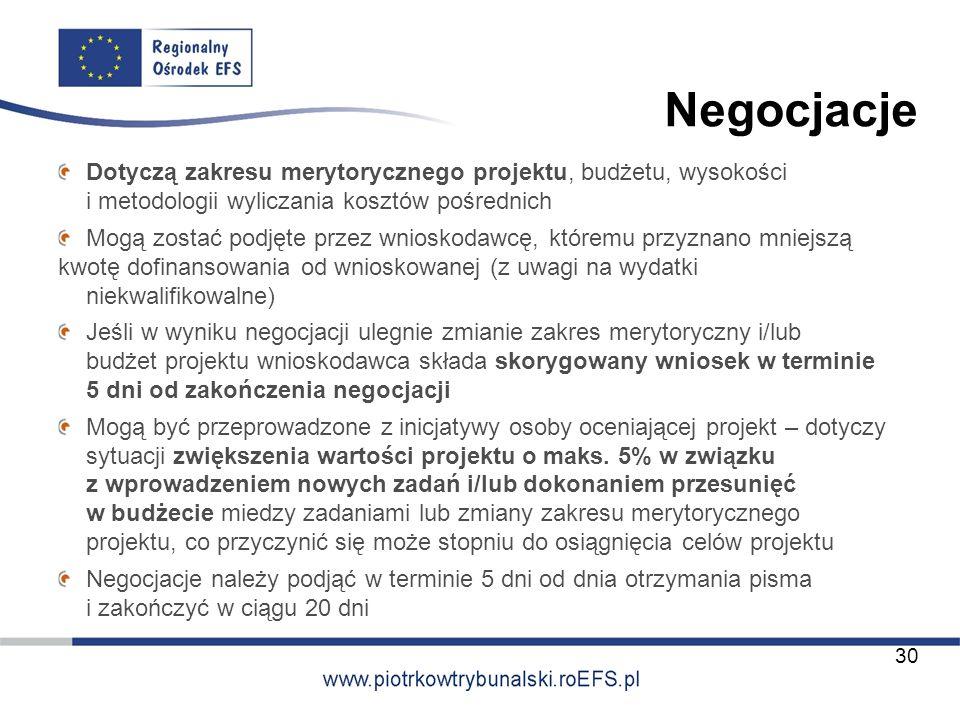 Negocjacje Dotyczą zakresu merytorycznego projektu, budżetu, wysokości i metodologii wyliczania kosztów pośrednich.