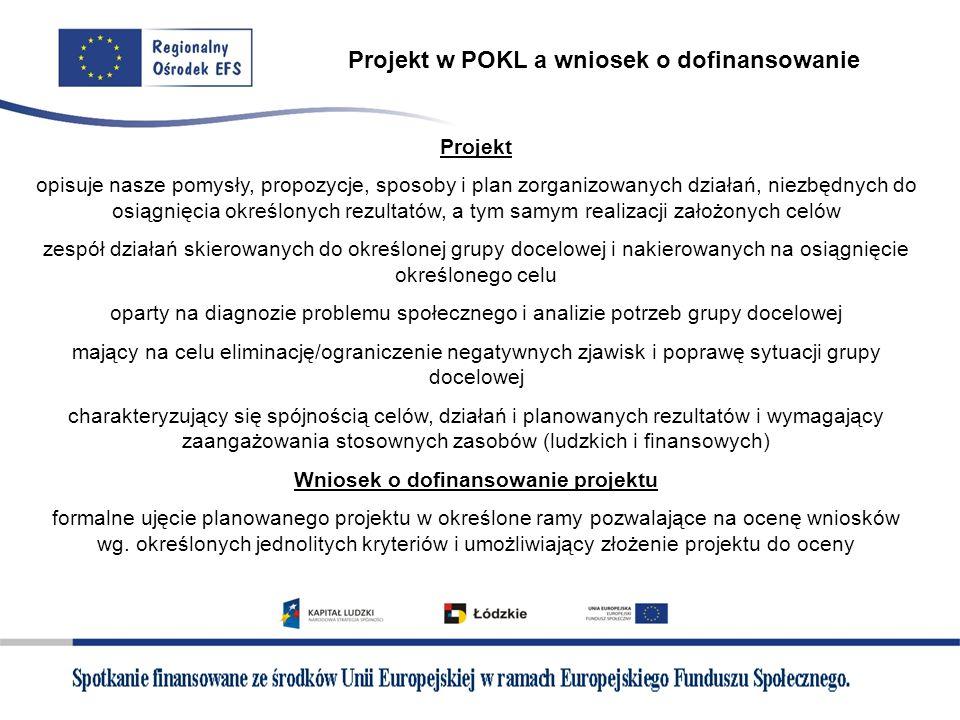Projekt w POKL a wniosek o dofinansowanie