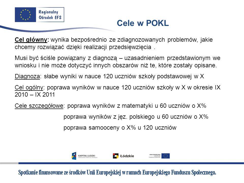 Cele w POKL Cel główny: wynika bezpośrednio ze zdiagnozowanych problemów, jakie chcemy rozwiązać dzięki realizacji przedsięwzięcia .