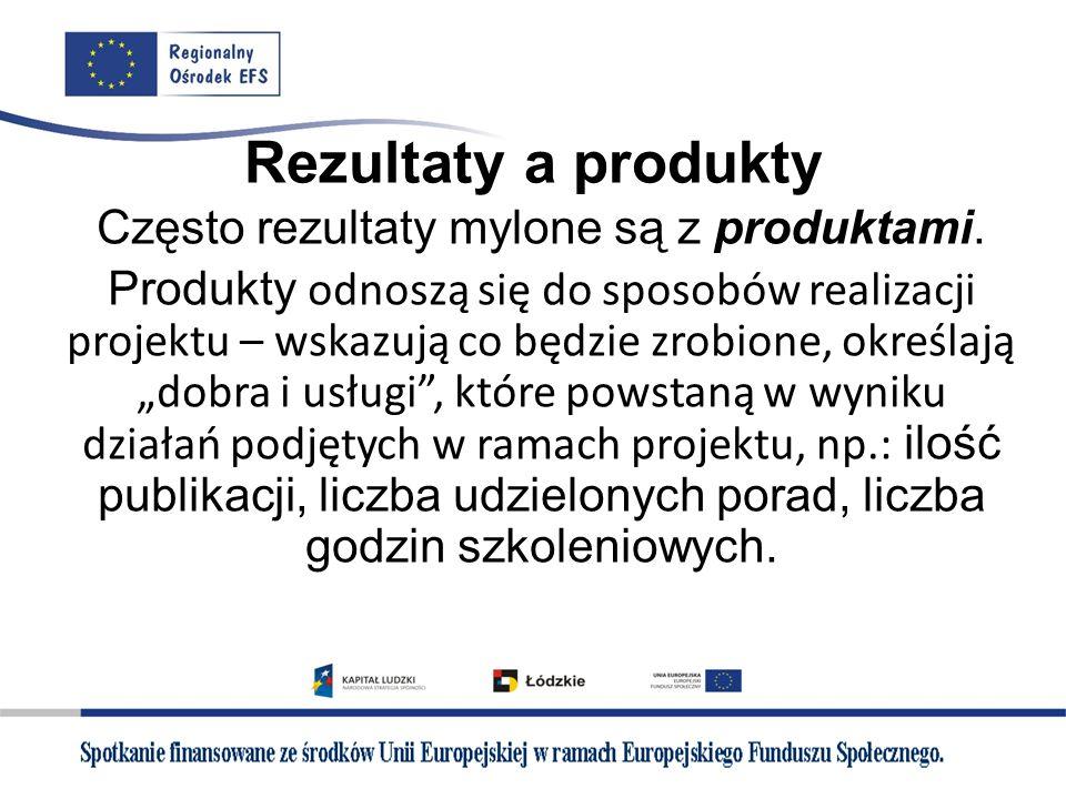 Często rezultaty mylone są z produktami.