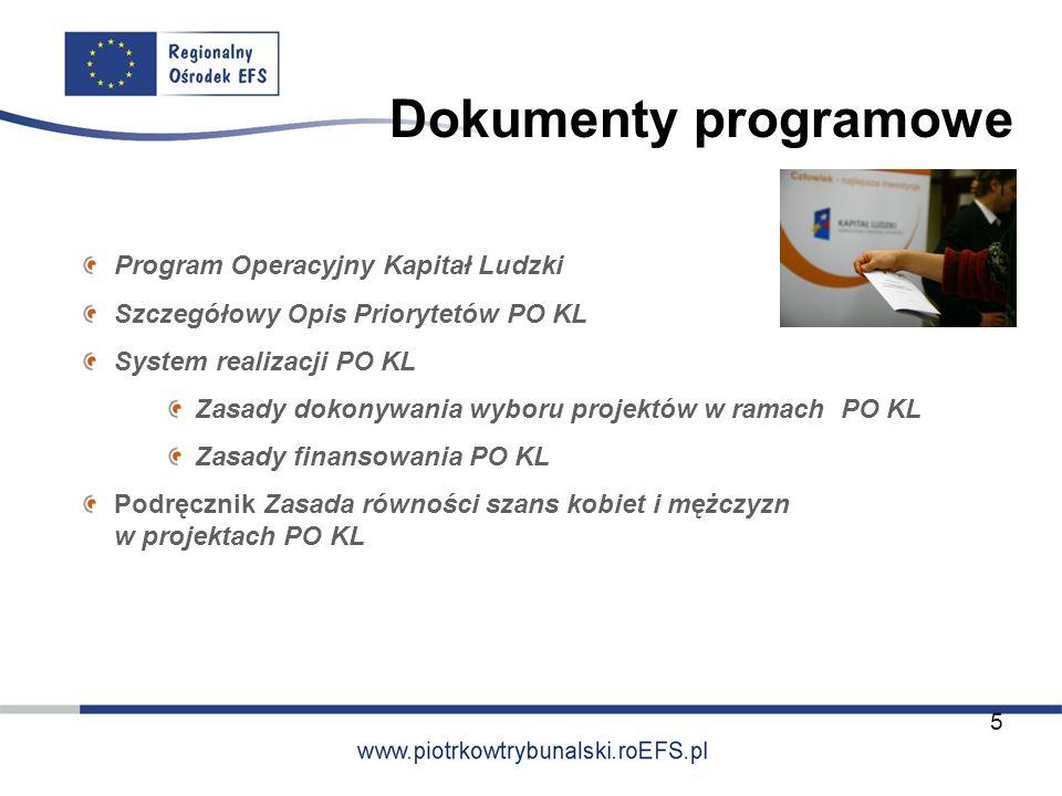 Dokumenty programowe Program Operacyjny Kapitał Ludzki