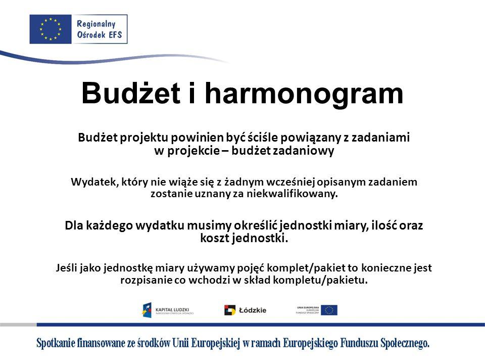 Budżet i harmonogramBudżet projektu powinien być ściśle powiązany z zadaniami w projekcie – budżet zadaniowy.