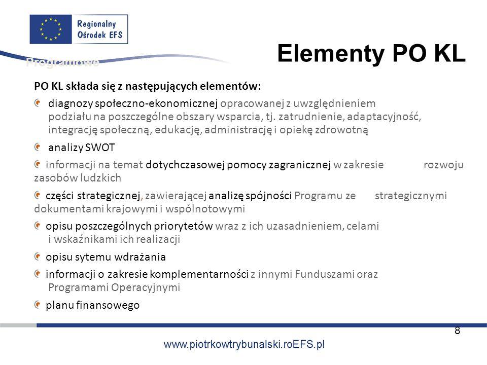 Elementy PO KL Programowe PO KL składa się z następujących elementów: