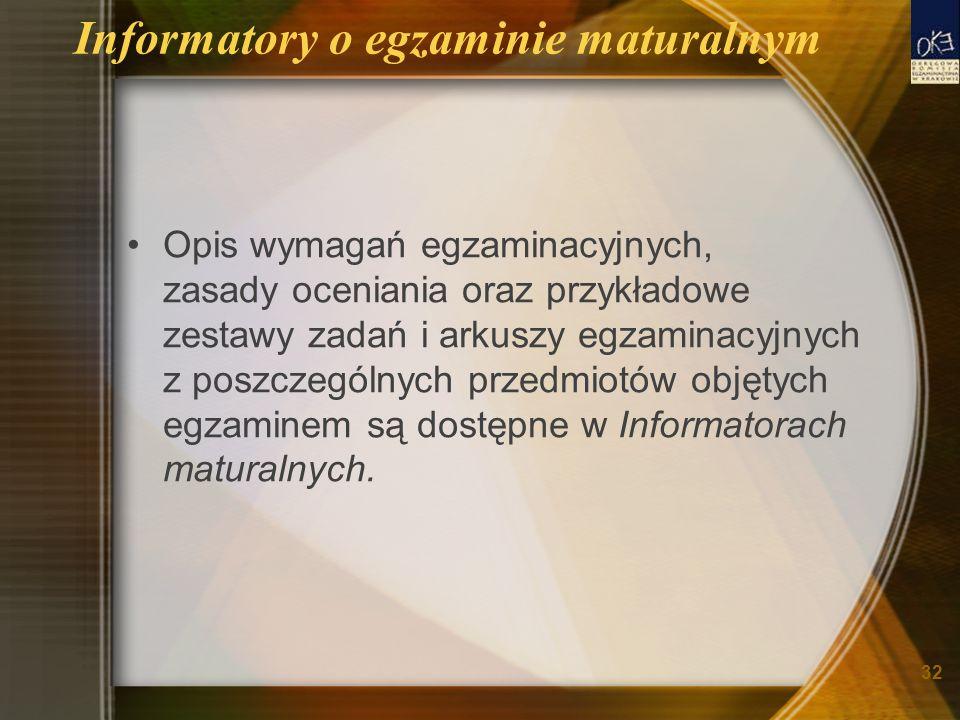 Informatory o egzaminie maturalnym