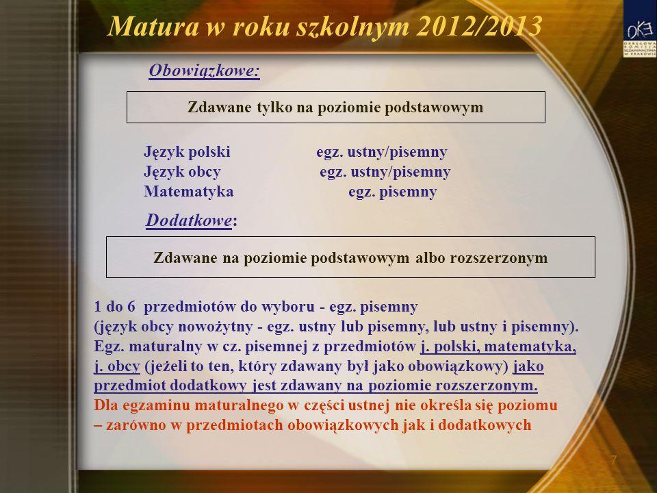 Matura w roku szkolnym 2012/2013