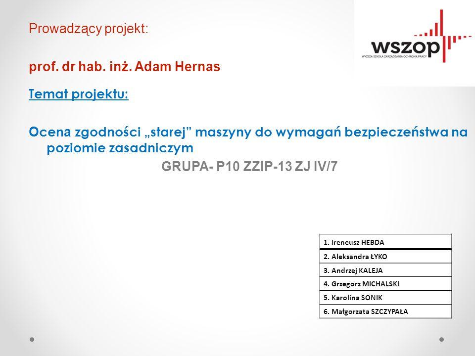 Prowadzący projekt: prof. dr hab. inż. Adam Hernas