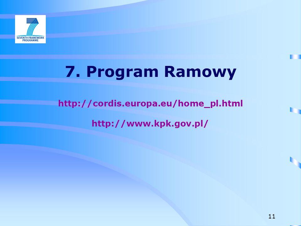 7. Program Ramowy http://cordis.europa.eu/home_pl.html