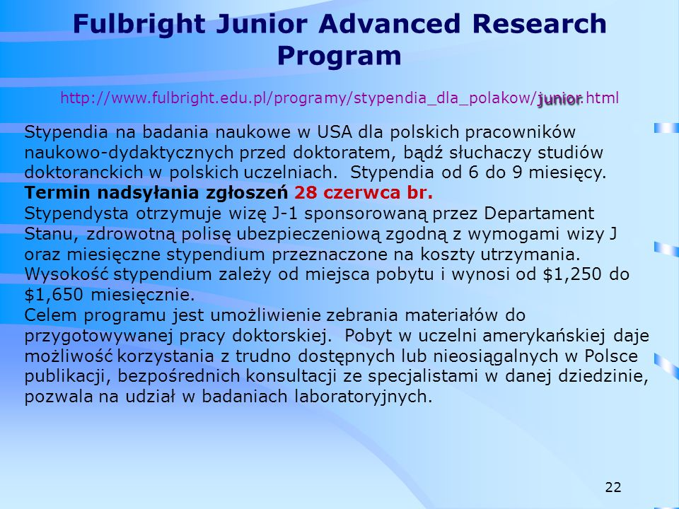 Fulbright Junior Advanced Research Program