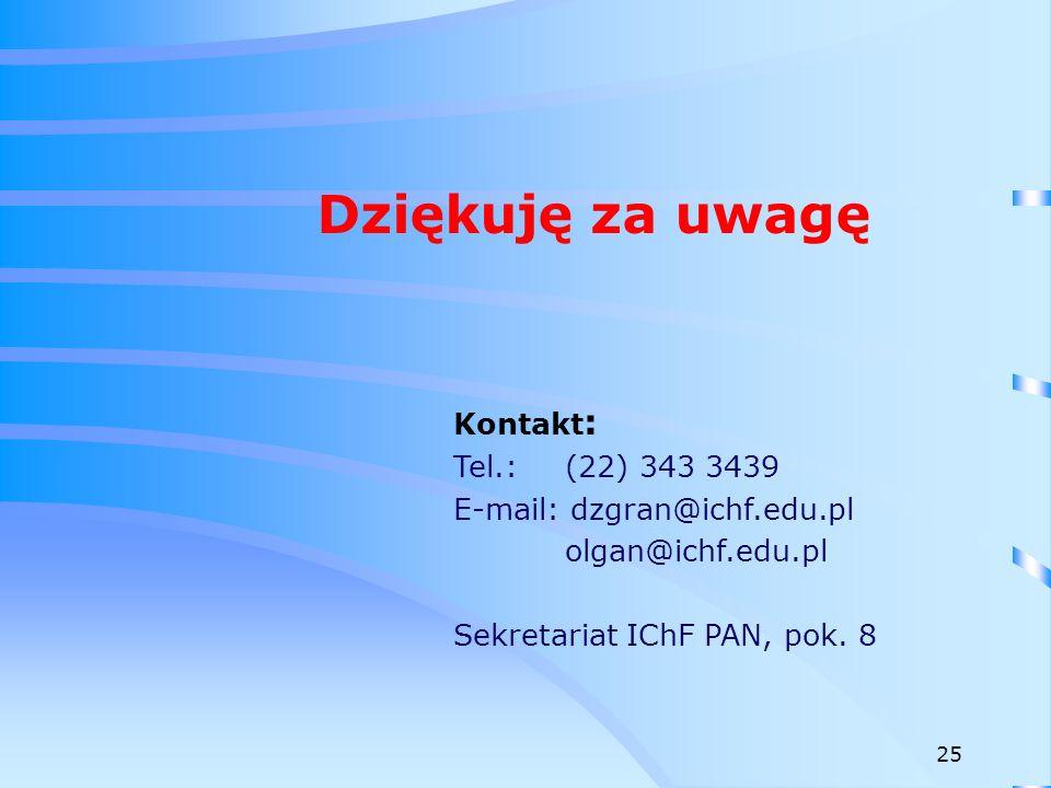 Dziękuję za uwagę Kontakt: Tel.: (22) 343 3439