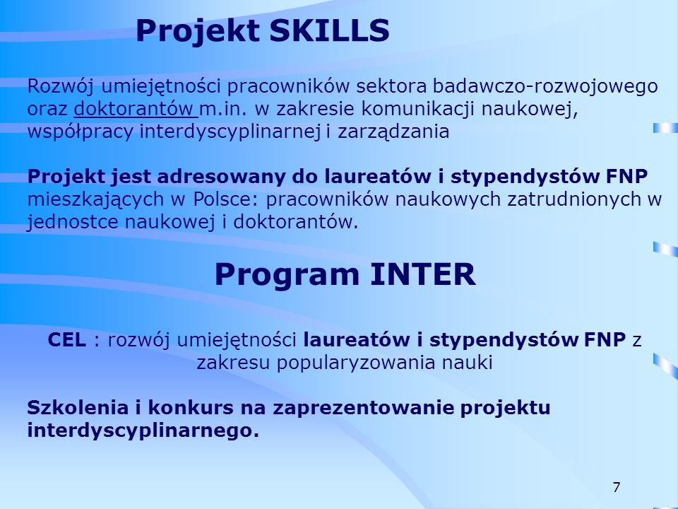 Projekt SKILLS Program INTER