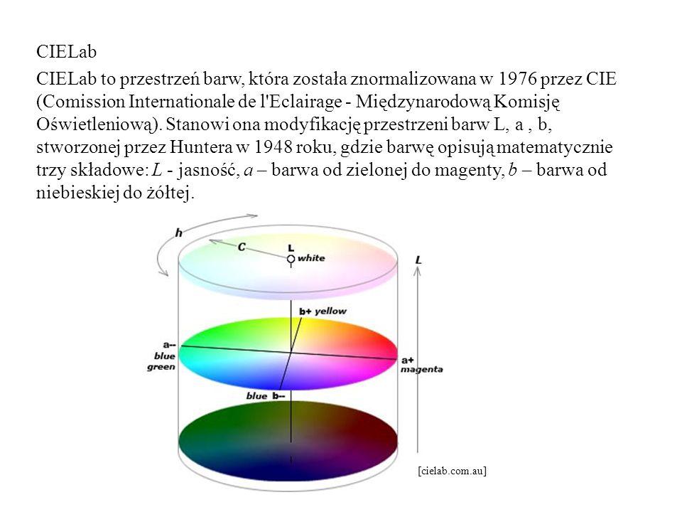 CIELab CIELab to przestrzeń barw, która została znormalizowana w 1976 przez CIE (Comission Internationale de l Eclairage - Międzynarodową Komisję Oświetleniową). Stanowi ona modyfikację przestrzeni barw L, a , b, stworzonej przez Huntera w 1948 roku, gdzie barwę opisują matematycznie trzy składowe: L - jasność, a – barwa od zielonej do magenty, b – barwa od niebieskiej do żółtej.