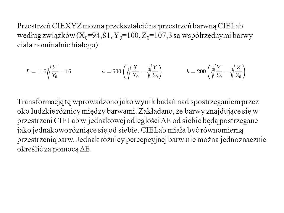 Przestrzeń CIEXYZ można przekształcić na przestrzeń barwną CIELab według związków (X0=94,81, Y0=100, Z0=107,3 są współrzędnymi barwy ciała nominalnie białego): Transformację tę wprowadzono jako wynik badań nad spostrzeganiem przez oko ludzkie różnicy między barwami.