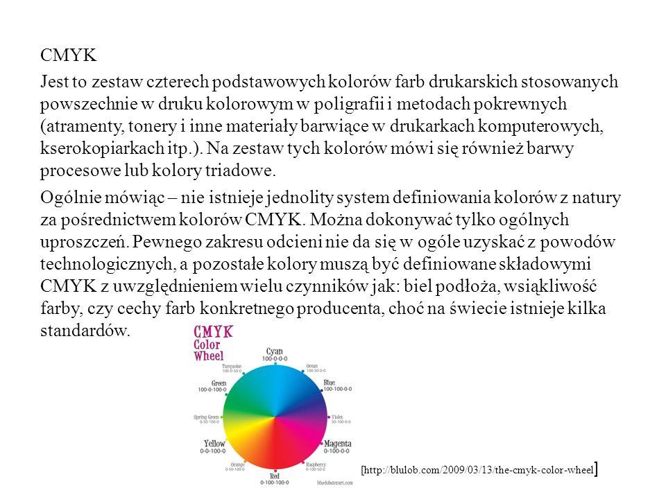 CMYK Jest to zestaw czterech podstawowych kolorów farb drukarskich stosowanych powszechnie w druku kolorowym w poligrafii i metodach pokrewnych (atramenty, tonery i inne materiały barwiące w drukarkach komputerowych, kserokopiarkach itp.). Na zestaw tych kolorów mówi się również barwy procesowe lub kolory triadowe. Ogólnie mówiąc – nie istnieje jednolity system definiowania kolorów z natury za pośrednictwem kolorów CMYK. Można dokonywać tylko ogólnych uproszczeń. Pewnego zakresu odcieni nie da się w ogóle uzyskać z powodów technologicznych, a pozostałe kolory muszą być definiowane składowymi CMYK z uwzględnieniem wielu czynników jak: biel podłoża, wsiąkliwość farby, czy cechy farb konkretnego producenta, choć na świecie istnieje kilka standardów.
