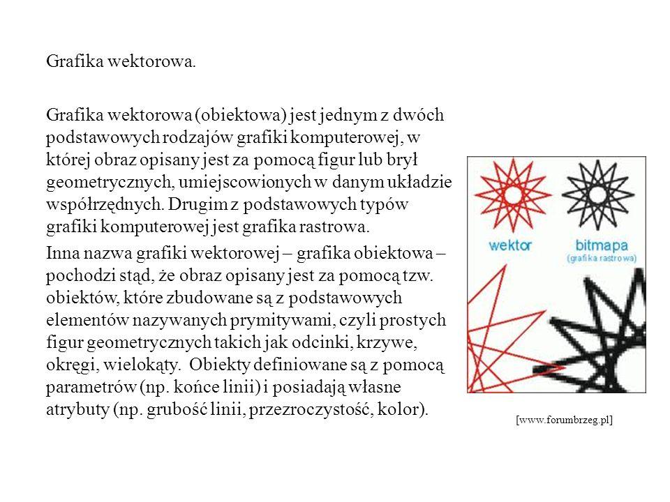 Grafika wektorowa. Grafika wektorowa (obiektowa) jest jednym z dwóch podstawowych rodzajów grafiki komputerowej, w której obraz opisany jest za pomocą figur lub brył geometrycznych, umiejscowionych w danym układzie współrzędnych. Drugim z podstawowych typów grafiki komputerowej jest grafika rastrowa. Inna nazwa grafiki wektorowej – grafika obiektowa – pochodzi stąd, że obraz opisany jest za pomocą tzw. obiektów, które zbudowane są z podstawowych elementów nazywanych prymitywami, czyli prostych figur geometrycznych takich jak odcinki, krzywe, okręgi, wielokąty. Obiekty definiowane są z pomocą parametrów (np. końce linii) i posiadają własne atrybuty (np. grubość linii, przezroczystość, kolor).
