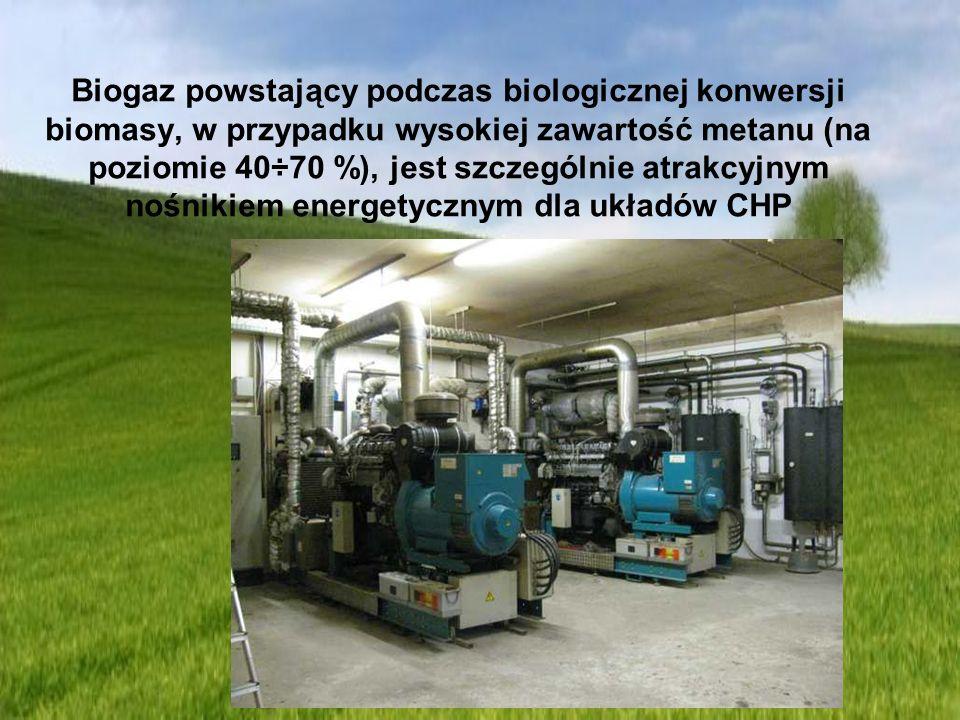 Biogaz powstający podczas biologicznej konwersji biomasy, w przypadku wysokiej zawartość metanu (na poziomie 40÷70 %), jest szczególnie atrakcyjnym nośnikiem energetycznym dla układów CHP