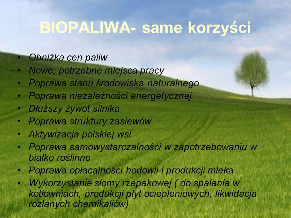BIOPALIWA- same korzyści