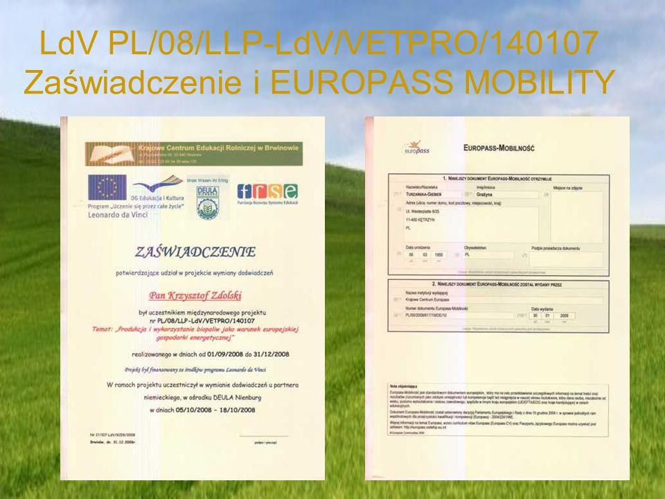 LdV PL/08/LLP-LdV/VETPRO/140107 Zaświadczenie i EUROPASS MOBILITY