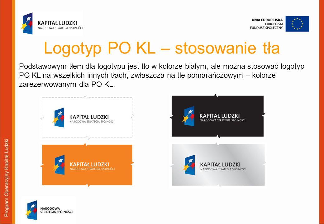 Logotyp PO KL – stosowanie tła