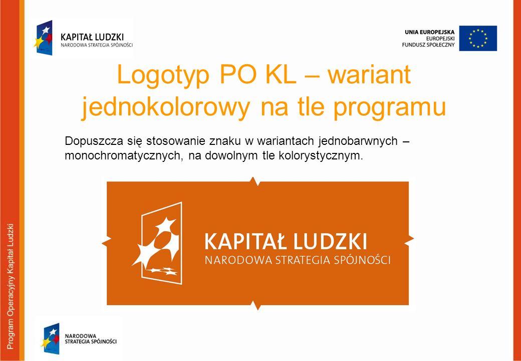 Logotyp PO KL – wariant jednokolorowy na tle programu
