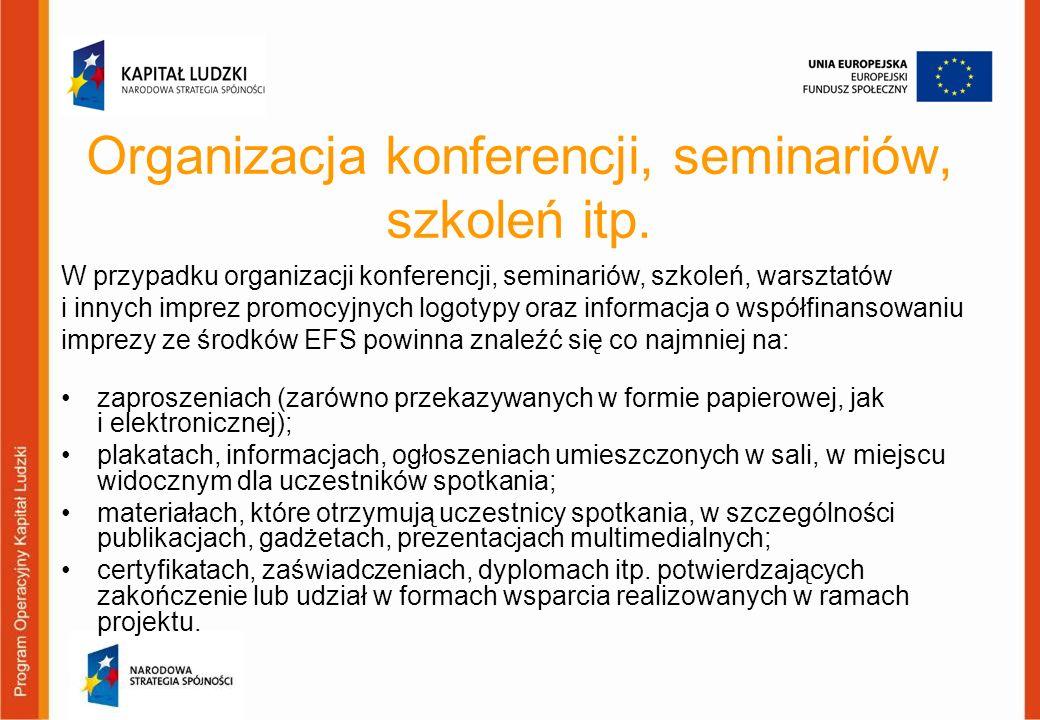 Organizacja konferencji, seminariów, szkoleń itp.