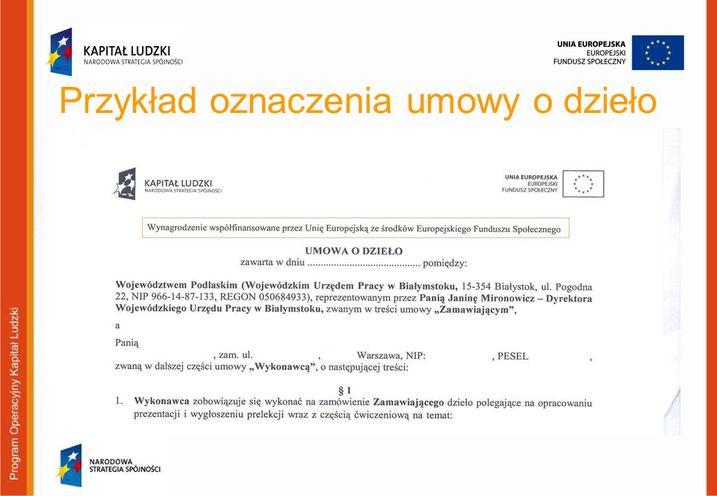 Przykład oznaczenia umowy o dzieło