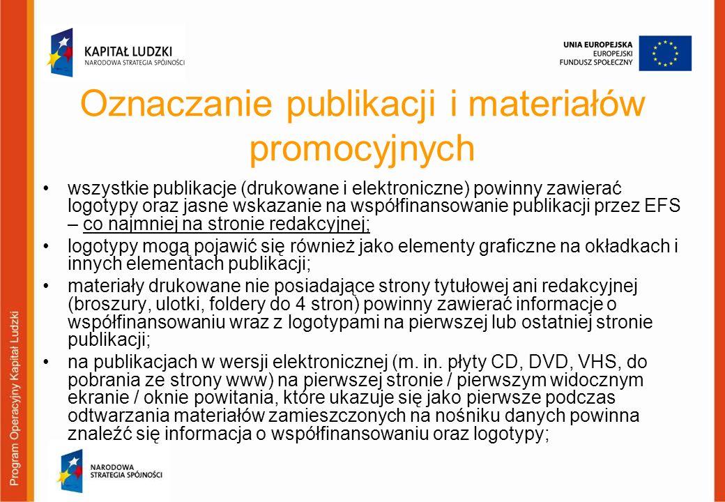 Oznaczanie publikacji i materiałów promocyjnych