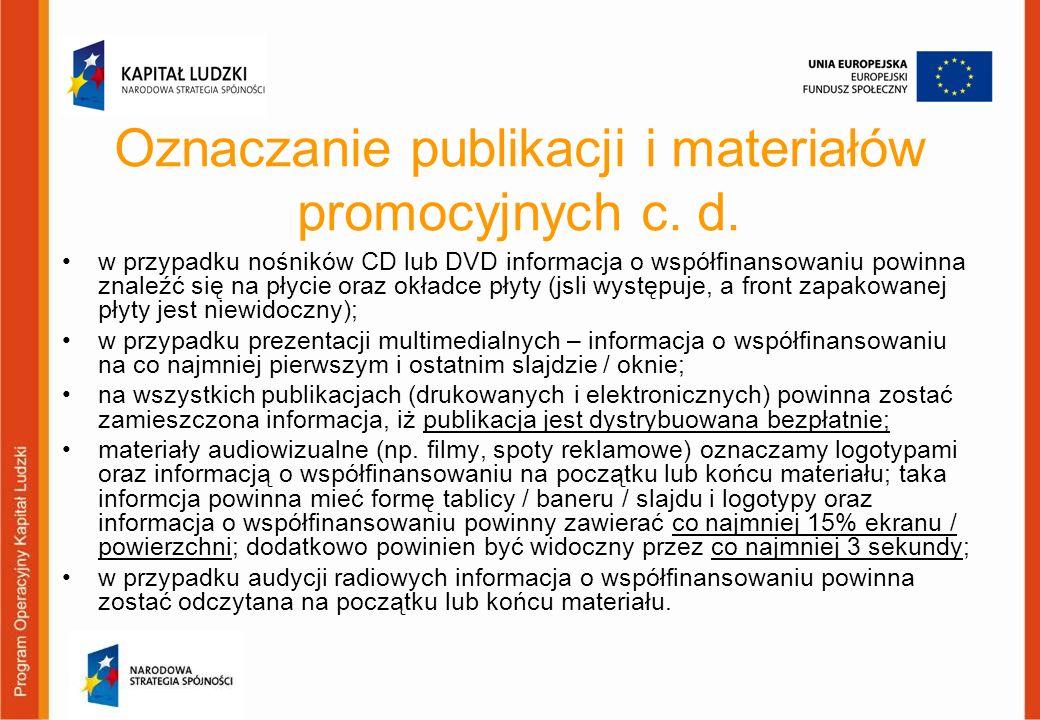 Oznaczanie publikacji i materiałów promocyjnych c. d.