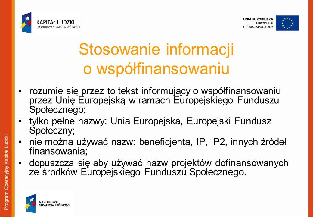 Stosowanie informacji o współfinansowaniu