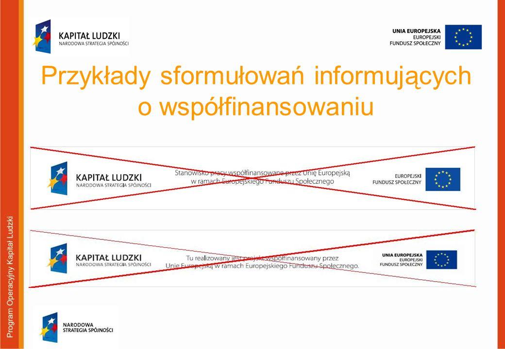 Przykłady sformułowań informujących o współfinansowaniu