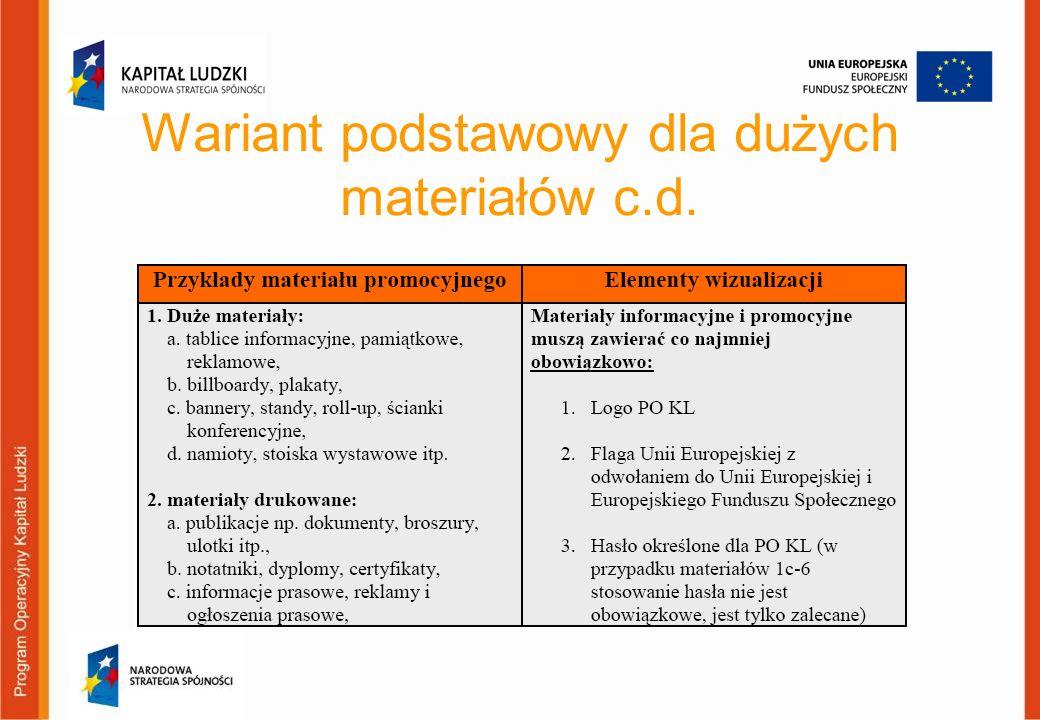 Wariant podstawowy dla dużych materiałów c.d.