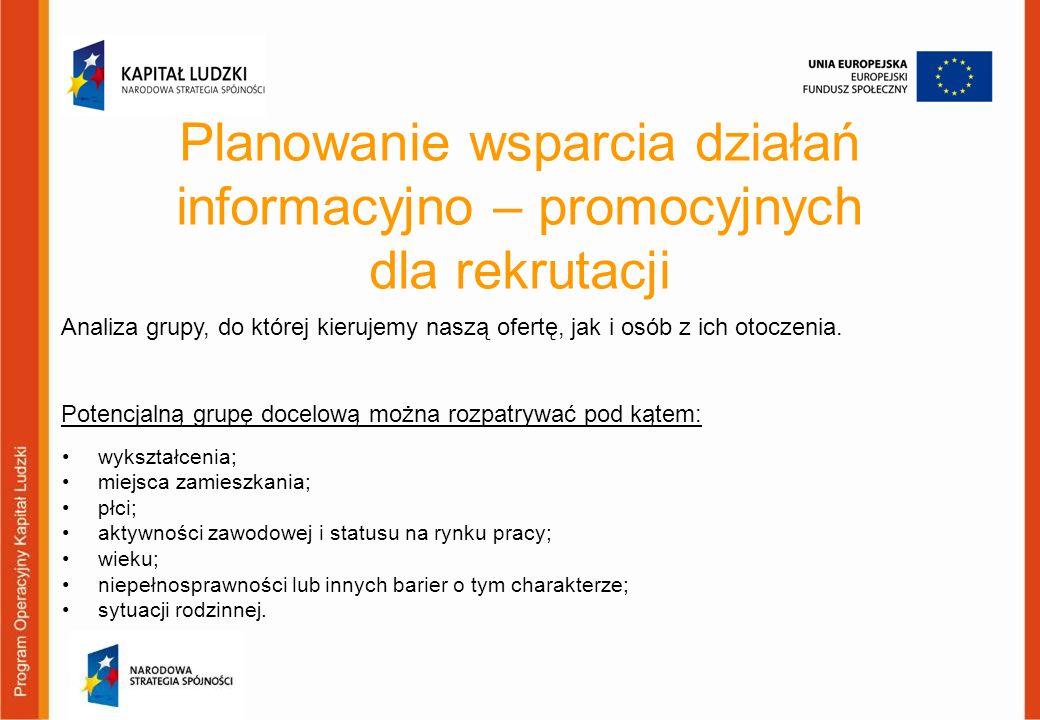 Planowanie wsparcia działań informacyjno – promocyjnych dla rekrutacji