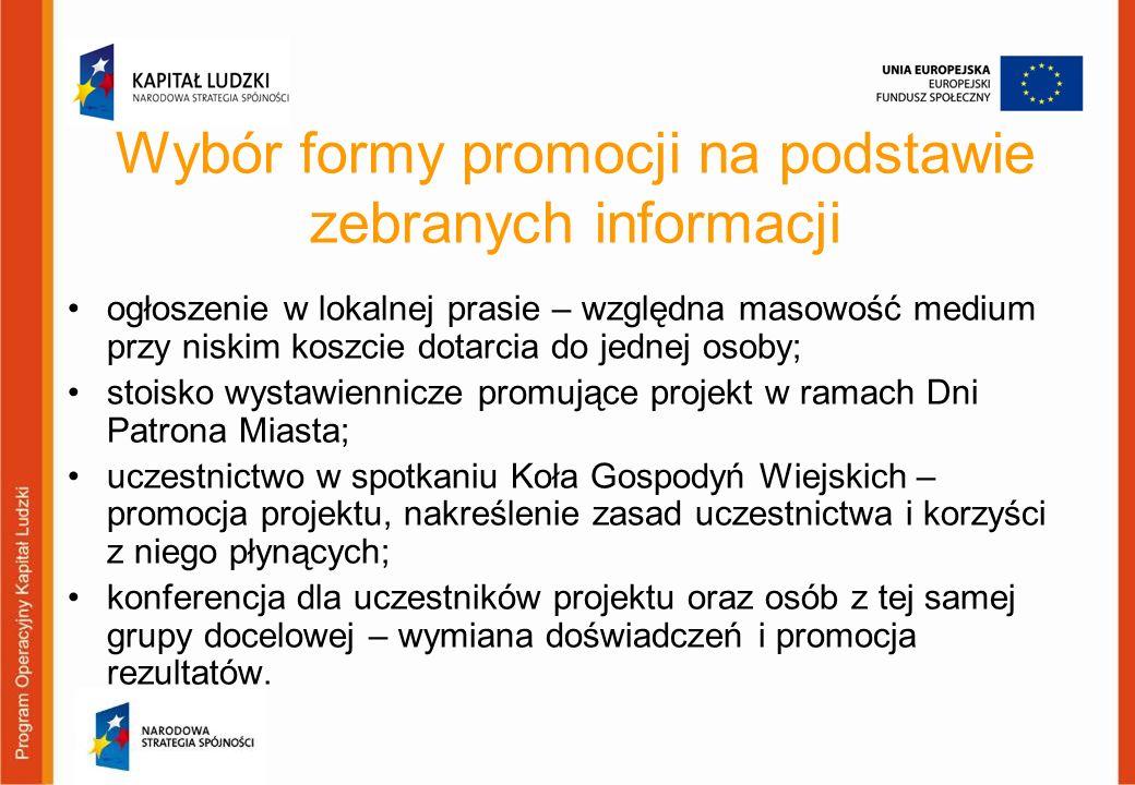 Wybór formy promocji na podstawie zebranych informacji