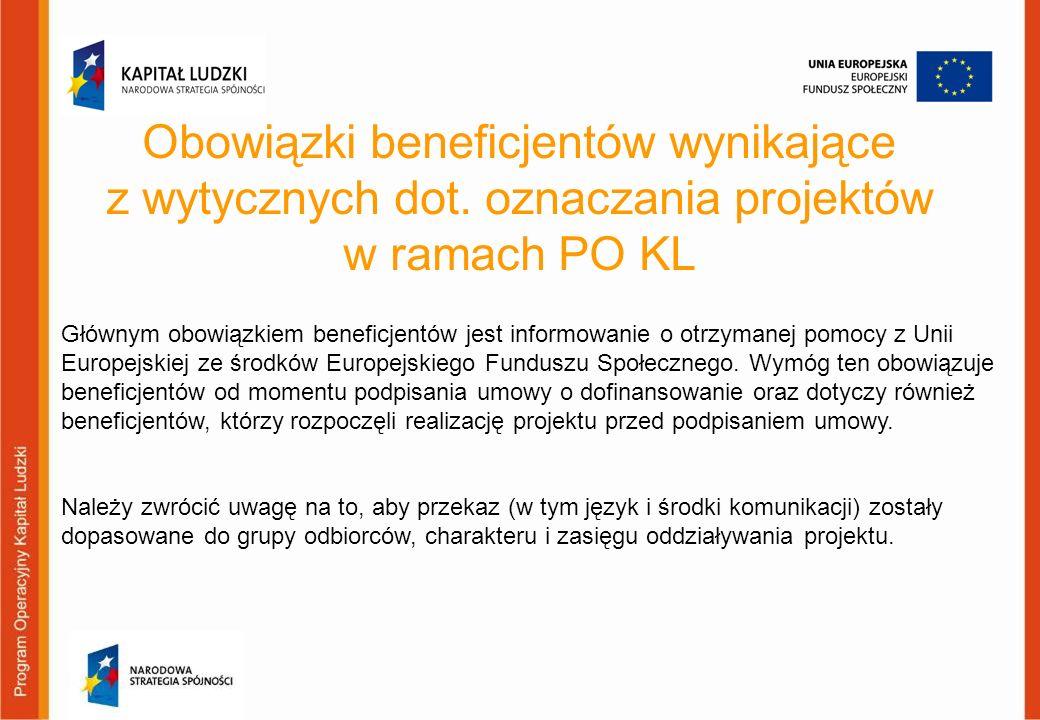 Obowiązki beneficjentów wynikające z wytycznych dot