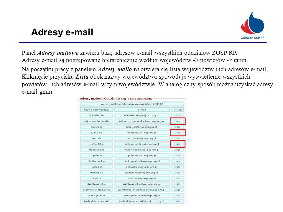 Adresy e-mail Panel Adresy mailowe zawiera bazę adresów e-mail wszystkich oddziałów ZOSP RP.