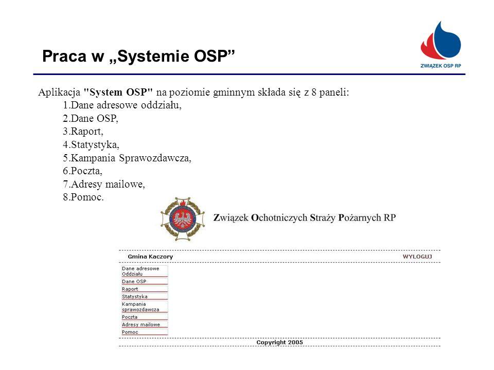 """Praca w """"Systemie OSP Aplikacja System OSP na poziomie gminnym składa się z 8 paneli: Dane adresowe oddziału,"""